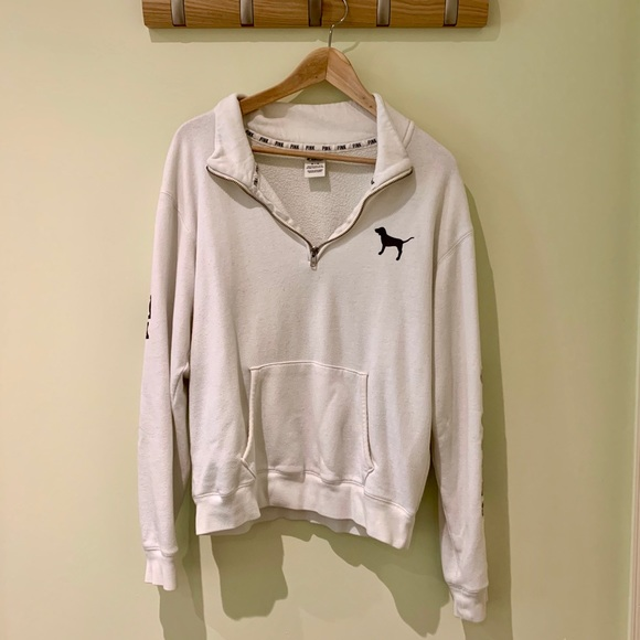 PINK White Quarter Zip Sweater